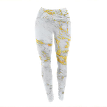 "KESS Original ""Gold Flake"" Marble Metal Yoga Leggings"