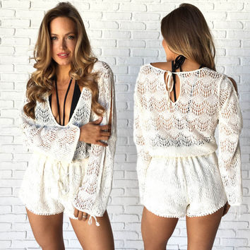 Cabo Mama Crochet Romper Cover Up