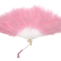 """11"""" Pink Marabou Feather Hand Fan for Weddings"""