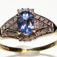 "Blue sapphire and diamond ring set in 10k yellow gold, s9 engagement ring, fine jewelry   ""Summer Romance"""