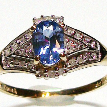 """Blue sapphire and diamond ring set in 10k yellow gold, s9 engagement ring, fine jewelry   """"Summer Romance"""""""