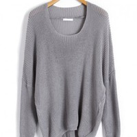Grey Color Batwing Jumpers with Dip Hem