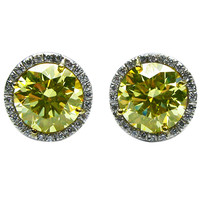 Fancy Yellow Diamond Stud Earrings