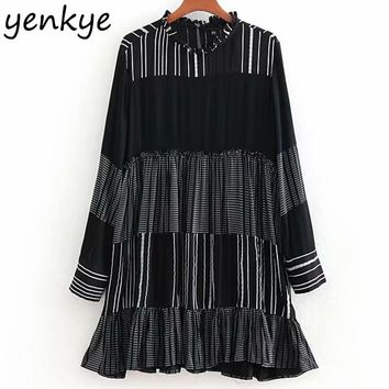 Women Contrasting Striped Vintage Dress Female long Sleeve Stand Collar A-line Casual Dress Mini vestidos CCWM8884