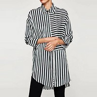 Women Fashion Stripe Irregular Middle Long Section Middle Sleeve Cardigan Lapel Shirt Tops
