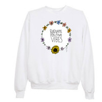 "Tumblr Transparent ""Radiate Positive Vibes"" Sweatshirts"