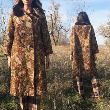 POP UP SALE Vintage 1960's Floral Tapestry Tent Swing Carpet Coat || Brown Earth Autumnal Colors || Jackie O Style || Size Large