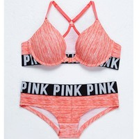 Victoria's Secret PINK Sexy Fashion Women's Bra Two Piece Set G