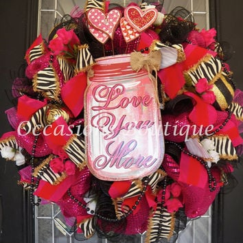 Valentine's Day Wreath, Valentine Decoration, Whimsical wreaths, Front door wreath, Wreath for door, Ready to ship