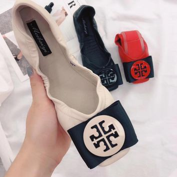 """Tory Burch"" Fashionable Women Comfortable Soft Soles Flats Shoes Single Shoes(3-Color) Apricot I13717-1"