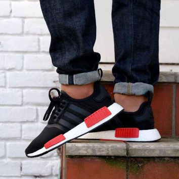 LMFUX5 Adidas WMNS NMD R1 Black/ Red /White Boost Sport Running Shoes Classic Casual Shoes Sneakers