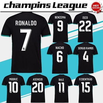 2018 Champions League Away black Real Madrid Soccer Jersey 17/18 CR7 RONALDO Soccer Sh