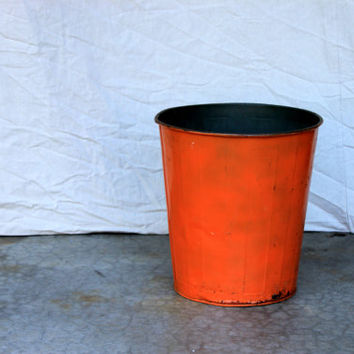 industrial metal trash can wastebasket or planter : orange