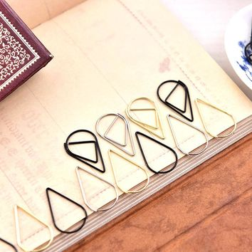 2017 Paperclip Metal Material Drop Shape Paper Clips Gold Silver Color Funny Kawaii Bookmark Office Shool Stationery Marking