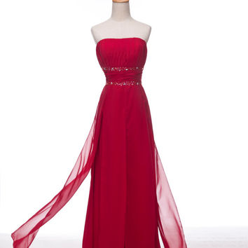 Custom A-line Strapless Sleeveless Floor-length Chiffon Beading Fashion Prom Dress Bridesmaid Dress Formal Evening Dress Party Dress 2013
