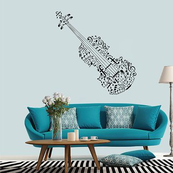 ik2890 Wall Decal Sticker violin notes classical music hall bedroom