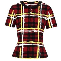 CHALKY TARTAN CREPE SHORT SLEEVE TOP WITH PEPLUM