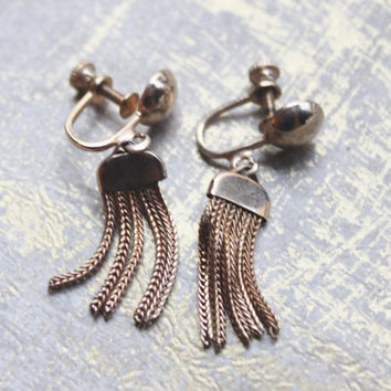 POP Vinatge Disco Dangle LT Rose Gold Toned Earrings-Screw Back