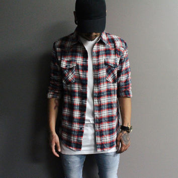 Adam Plaid Flannel (Red/White)