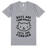 Boys Are Temporary Cats Are Forever-Unisex Athletic Grey T-Shirt