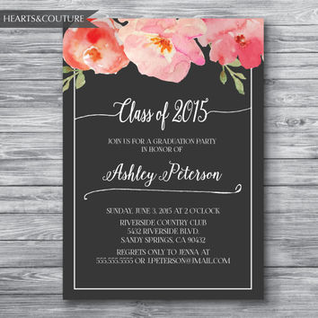 Graduation Party Invitation, Graduation Party Invite, Graduation Invitation, Floral Graduation Invite,Floral Graduation Invitation,Printable