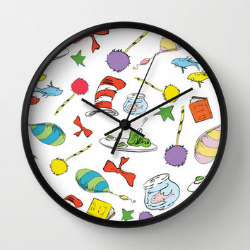 dr seuss pattern..  cat in the hat, lorax, oh the places you'll go,  Wall Clock by Studiomarshallarts