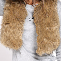 Khaki Collarless Cropped Faux Fur Waist Coat