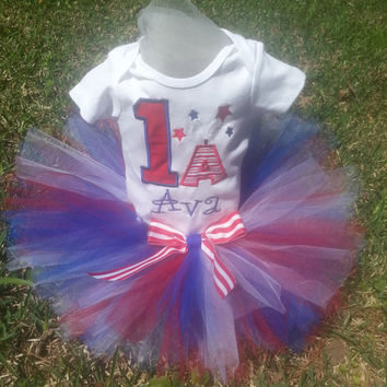 Red White and Blue Patriotic  Birthday Tutu Outfit with Number and Monogram