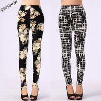 New Arrival Women Printed Leggings Spandex Knitted Fashion Skinny Leggins Primavera Pants Women
