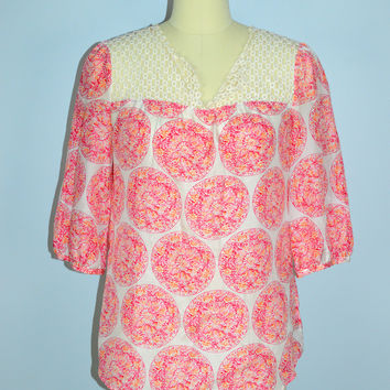 Calypso St Barth for Target 100% Silk Blouse with Lace Medium