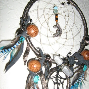 Large Dreamcatcher of the Black Moon OR Turquoise Tree of Life dreamcatcher, Crystal Quartz Point Charm handmade by the Dreamcatcherman