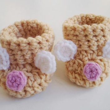 Baby bear booties Crochet baby booties Beige baby shoes Beige booties Bear shoes Baby shower gift Baby girl booties New baby girl gift