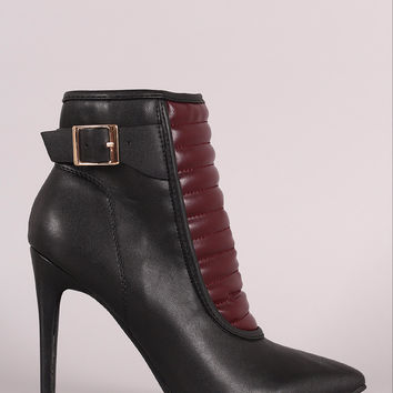 Quilted Buckled Pointy Toe Stiletto Booties