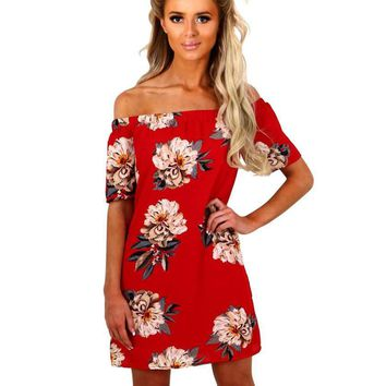 Fashion Off Shoulder Short Sleeve Flower Print Mini Dress