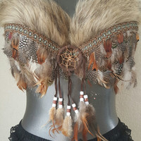 native american inspired decorative bra- indian themed festival bra- native American feather bra with dreamcatcher