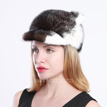 New Autumn winter parent-child women kids girl real mink fur hat cute luxurious cat ear with tail mink baseball fur cap hats hot