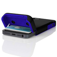 The Obsidian Black / Ultraviolet Blue Incipio STASHBACK™ Dockable Credit Card Case for iPhone 5-5s