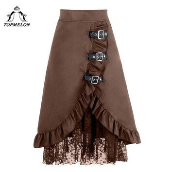 TOPMELON Gothic Skirt A line Female Skirt Women's Long Steampunk Skirt Vintage Splited Lace Shows Club Dance Corset Skirts
