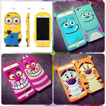 3D Cartoon Tiger Cat Sulley Soft Silicone Case Cover For iPhone 6 5s 5 6s Plus 4s 4 Case Rubber Gel Cases Shell