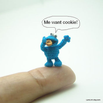 2/3 inch crochet blue monster doll - micro amigurumi miniature muppet
