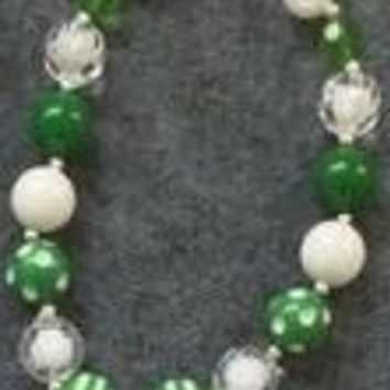 Green/ White St. Patrick's Day Chunky Necklace