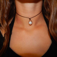 Leather Pearl Teardrop Choker Necklace + Gift Box