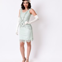 1920s Mint & Silver Sequin Beaded Athena Gatsby Flapper Dress