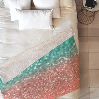 Lisa Argyropoulos Coral Meets Sea Fleece Throw Blanket
