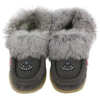 SoftMoc Women's CUTE 2 grey crepe sole rabbit moccasins cute 2 gry