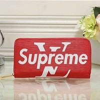 LV x Supreme Women Fashion Clutch Bag Leather File Bag Tote Handbag