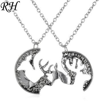 Custom engraved boyfriend girlfriend deer head hunting southern love buck doe his hers paired pendants couple necklace gift set