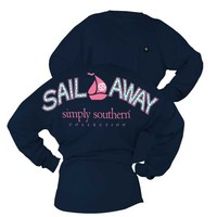 Simply Southern Preppy Collection Sail Away Long Sleeve Tee in Navy DROP-SAIL-NAVY