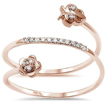 14K Rose Gold Natural Ethically Mined Diamond Wrap Spring Ring