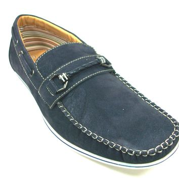 Mens Polar Fox Boat Suedette Moccasin Casual Loafers Shoes 30218 Blue-379